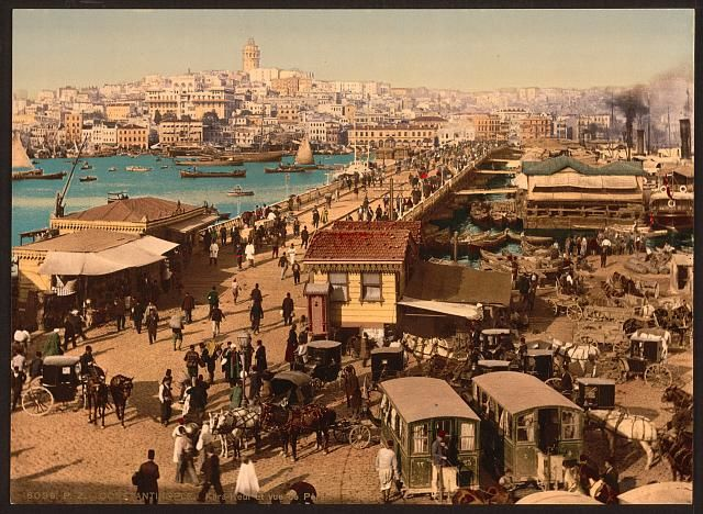 A little less traffic than today. Galata Bridge with view of Pera 1890-1900