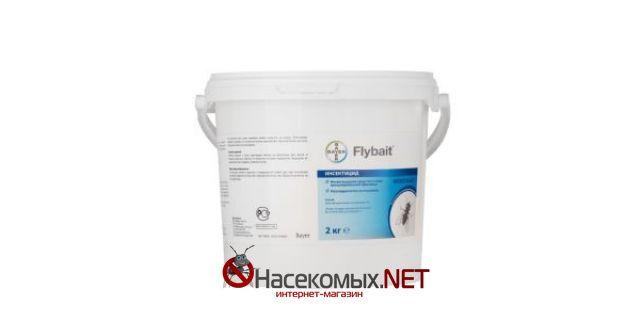 Flybait (Флайбайт) профессиональное инсектицидное средство в виде гранулированной приманки.  ДВ - метомил 1 %.  Предназначено для уничтожения мух на объектах различных категорий.  Купить средство Flybait в нашем магазине.