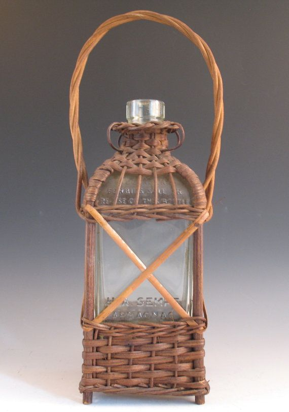 Early 20th Century Wicker Covered French Brandy Glass Bottle HA Sempe