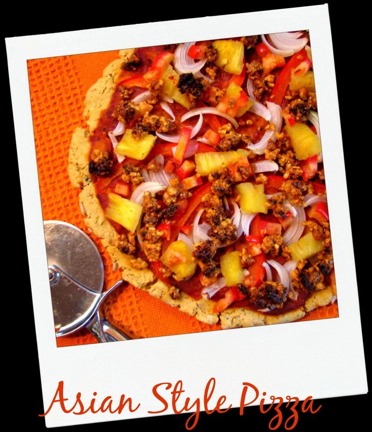 """Every day should be pizza day! Be sure to try new flavour combinations and fire up those taste buds for good health,yum! This lotus original is made with my vegan """"no meat"""" blend, a ton of curry,pineapple,peppers, and many other tasty herbs and spices. The crust is crispy and cuts great!"""