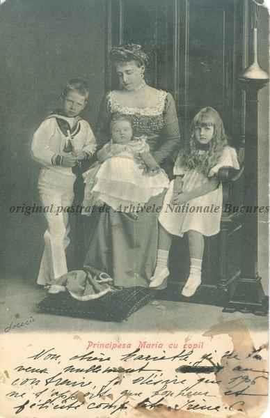 BU-F-01073-5-00032 Regina Maria a României împreună cu copiii: Principele Carol al II-lea, Principesa Elisabeta, Principesa Marioara (Mignon), s. d. (sine dato) (niv.Document)