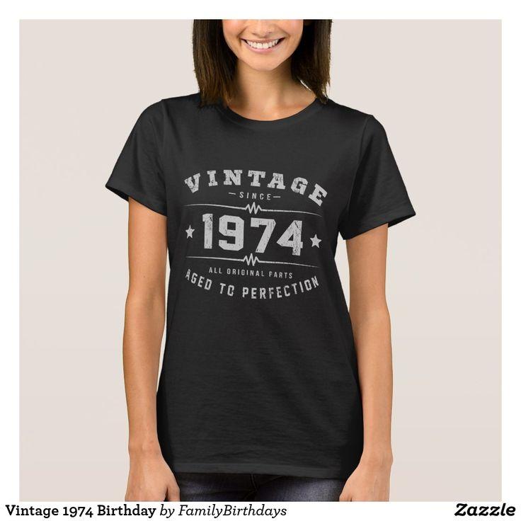 Cumpleaños del vintage 1974 playera