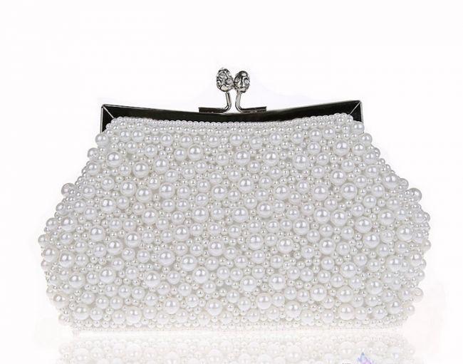 Women's Elegant Pearl Evening Bag Handbag #ClutchBag #ClutchBags