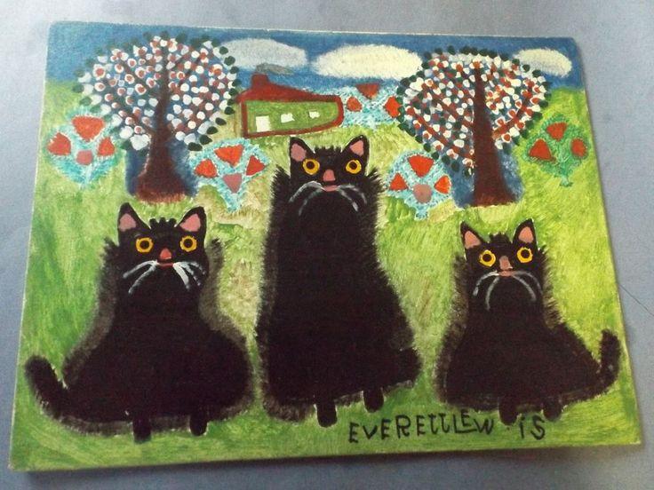 E.Lewis Folk Art Painting Marshaltown Artist 3 Black Cat Easter Gift Nova Scotia #EvertteLewis