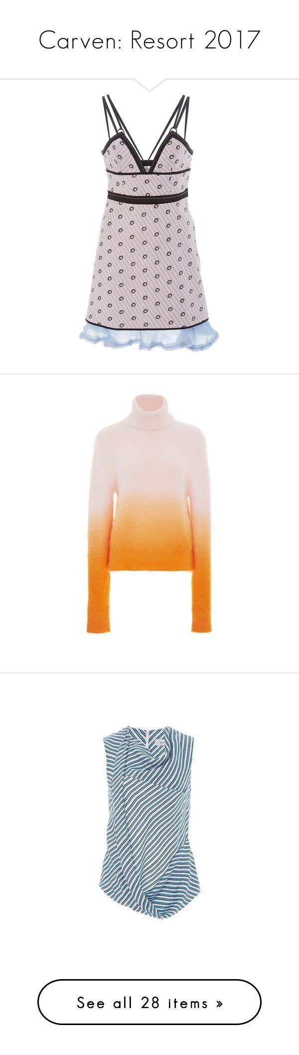 """""""Carven: Resort 2017"""" by livnd ❤ liked on Polyvore featuring carven, resort2017, dresses, v neck cocktail dress, metallic dress, metallic mini dress, pink metallic dress, pink mini dress, tops and sweaters"""