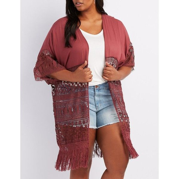 Charlotte Russe Mixed Crochet Fringe Kimono ($15) ❤ liked on Polyvore featuring plus size women's fashion, plus size clothing, plus size intimates, plus size robes, dusty rose, kimono robe, plus size kimono, plus size kimono robe and plus size fringed kimono