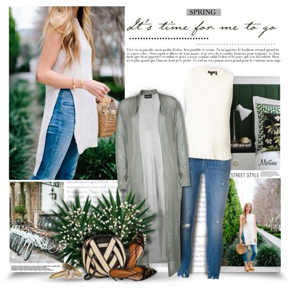 A fashion look from April 2017 by thewondersoffashion featuring Emporio Armani, Theory, J Brand, Aquazzura, Perrin, Roberto Coin e Kenneth Jay Lane