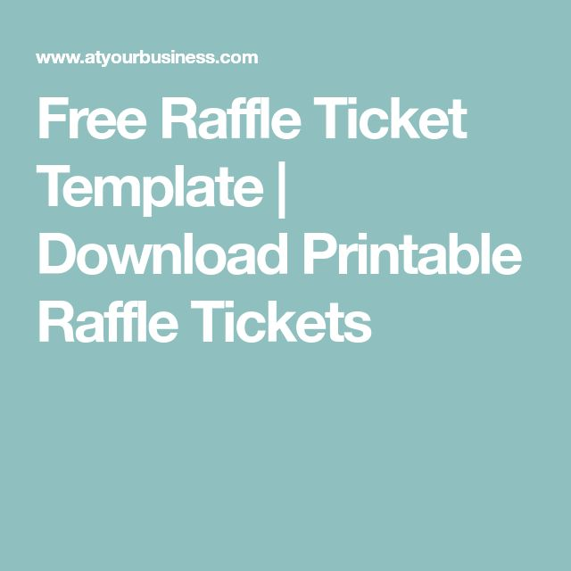 Free Raffle Ticket Template | Download Printable Raffle Tickets