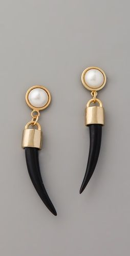 Bijan Pearl Horn Earrings by Fallon Jewelry