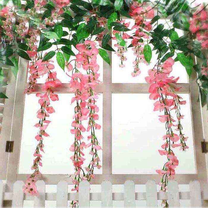1 stuk kunstmatige nep zijde wisteria opknoping tuin bloem plant wijnstok bruiloft home decoration producten te leveren