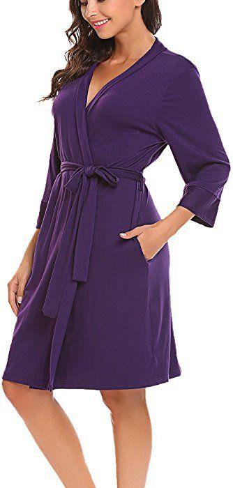 f9d202f835 BLUETIME Women s Kimono Robes Cotton Lightweight Robe Short Knit Bathrobe  Soft Sleepwear V-Neck Ladies Nightwear (XXL