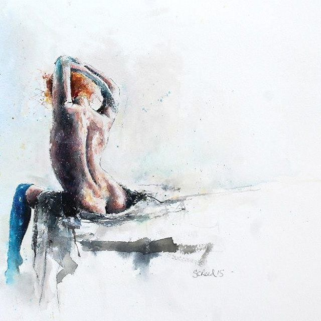 Comfortable in Blue, 27 x 19 cm watercolors and pen by Steven Christian Reed