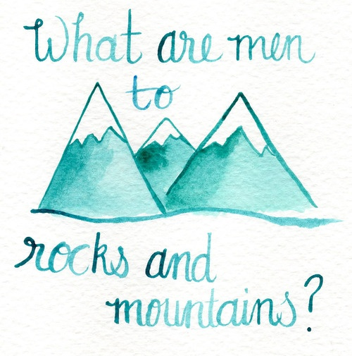 What are men to rocks and mountains?  Pride and Prejudice.