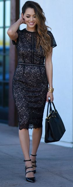 Jessica R. + utterly elegant + stunning lace dress + strappy stilettos + leather bag + perfect evening style + formal occasions + steal the show!   Dress/Heels: Marks & Spencers.