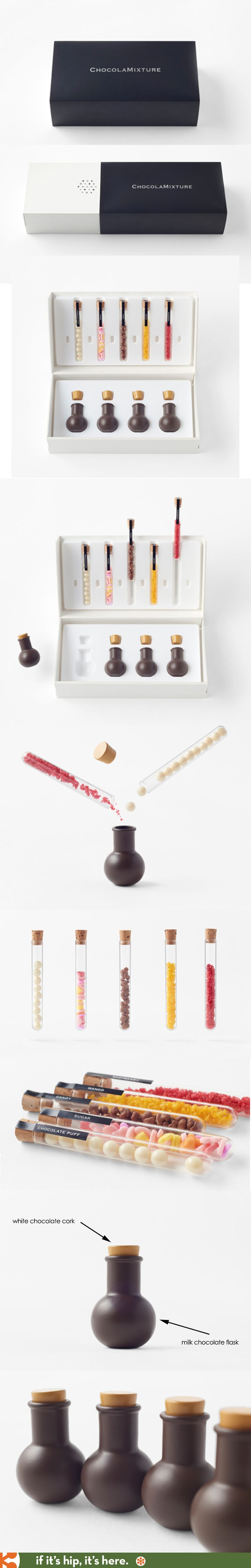 The nendo chocolamixture is a boxed set of chocolate flasks with white chocolate corks and 5 different flavours of candy packed in mini testubes with a unique texture. - if it's hip, it's here