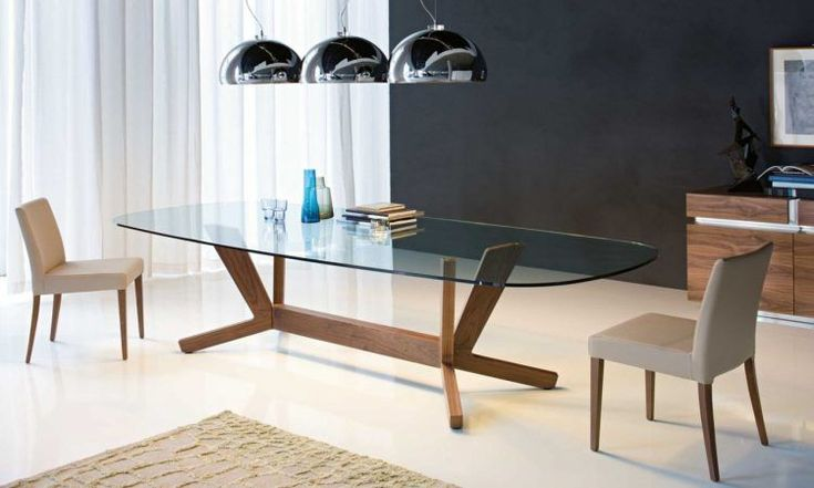 contemporary oval glass dining table
