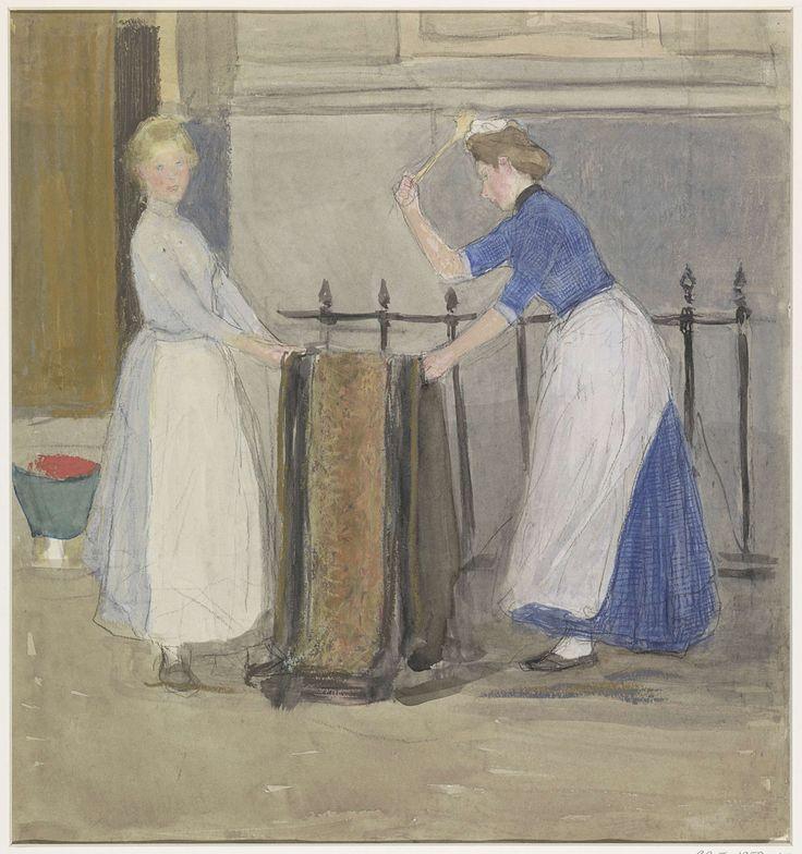 Twee dienstmeisjes, die een mat uitkloppen voor een stadshuis, Johan Antonie de Jonge, 1874 - 1927