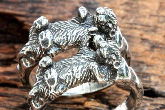 Otters holding hands rings  set of two  Sterling silver Blue Bayer Design NYC