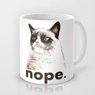 NOPE - Grumpy cat. Mug by John Medbury (LAZY J Studios) - $15.00