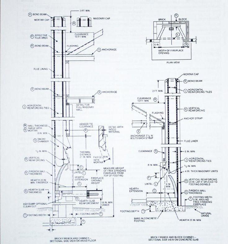 Technical Drawing Masonry Fireplace Chimney Design Masonry