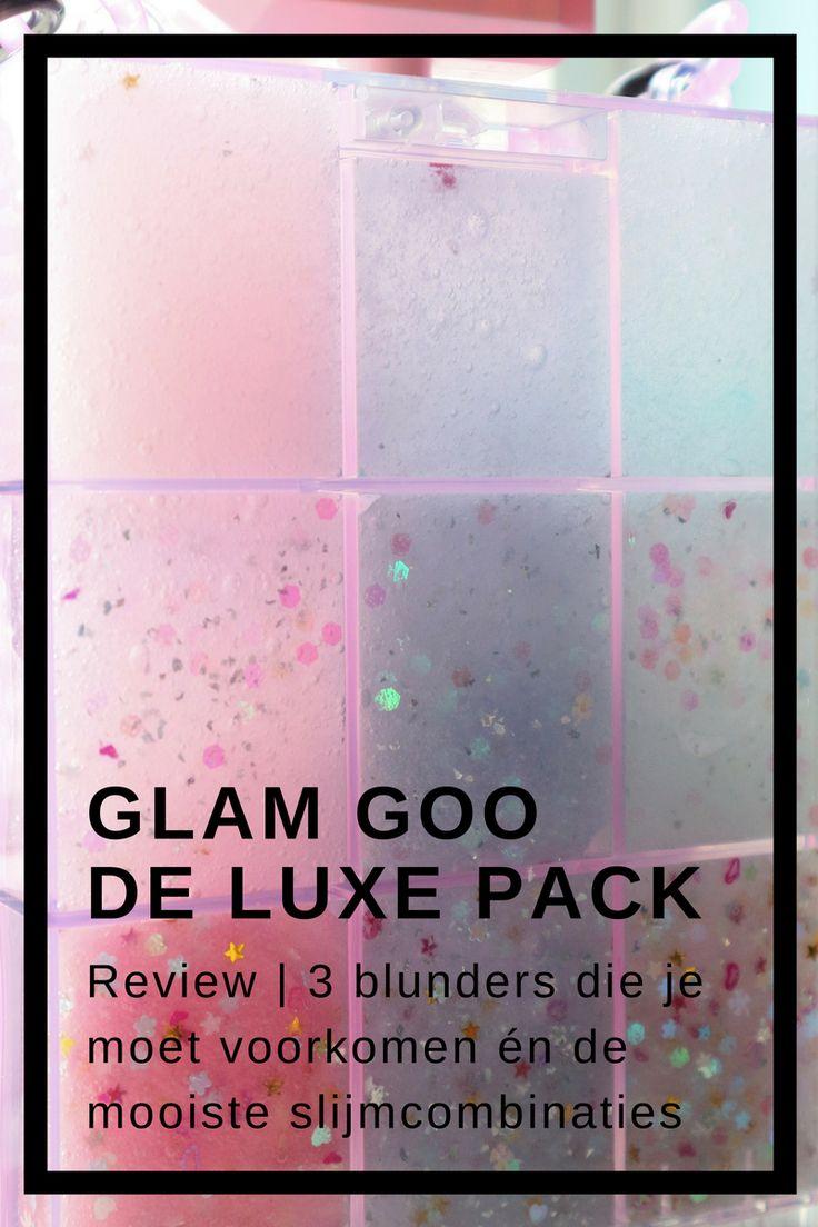Review Glam Goo Deluxe Pakket - slijm maken uit de verpakking. Inclusief blunders, de mooiste manieren om slijm te versieren met glitters en beschrijving van de inhoud.