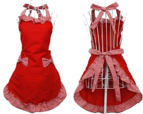 Preview E-CART Womens Ladies Cute Lovely Bowknot Kitchen Fashion Flirty Apron Fancy Maid Set Apron (Red+Red) by Top Dinning&Entertaining