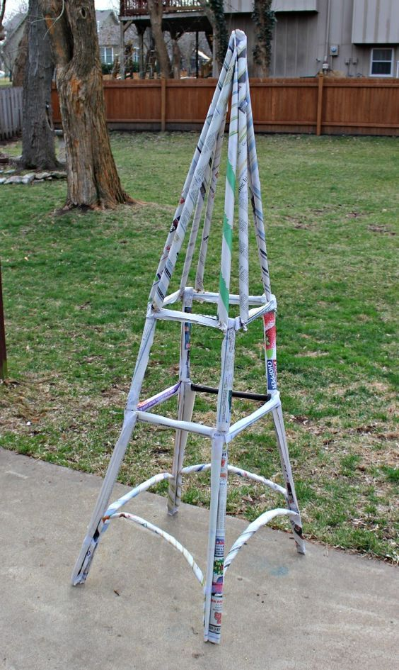 Engineering Challenge -- build a kid-sized Eiffel Tower from newspapers!