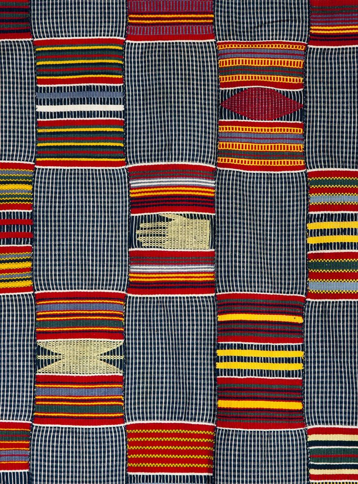 Africa | Details from a strip woven cloth from the Ewe people of Togo | Cotton, locally woven and dyed.