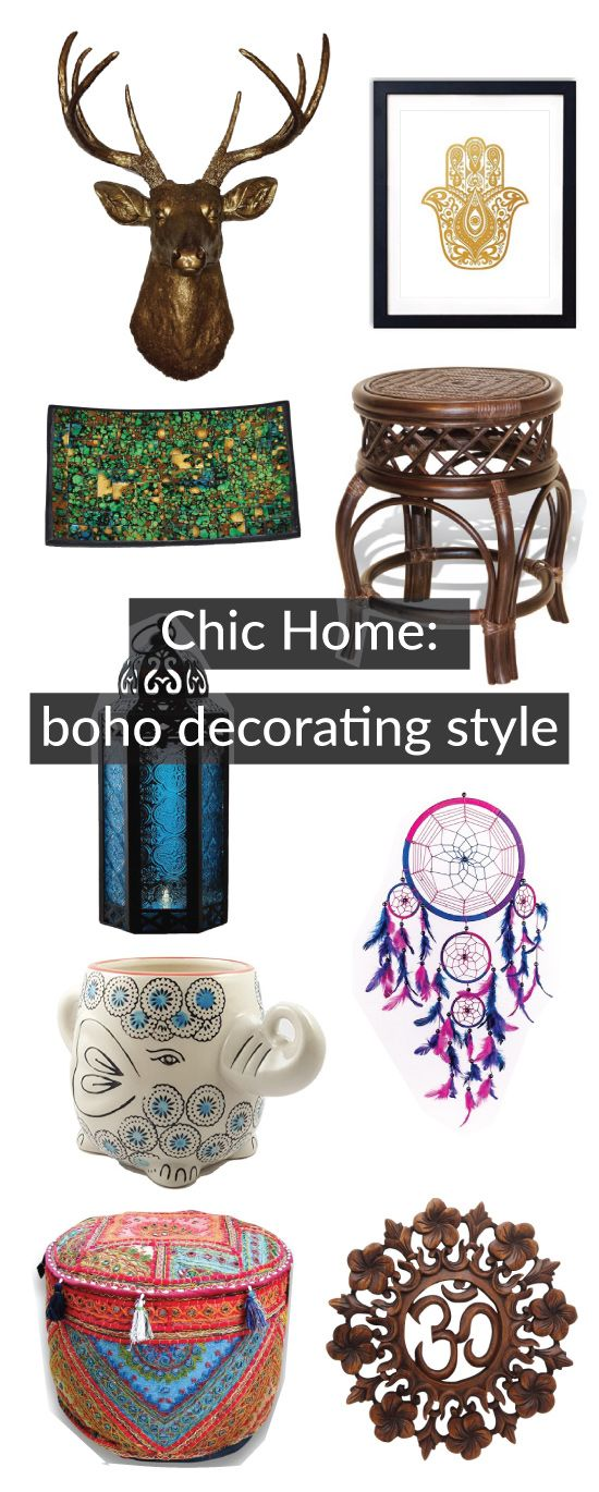 Boho decor for home, bedroom and dorm room. Stylish hippie style. Modern bohemian chic.