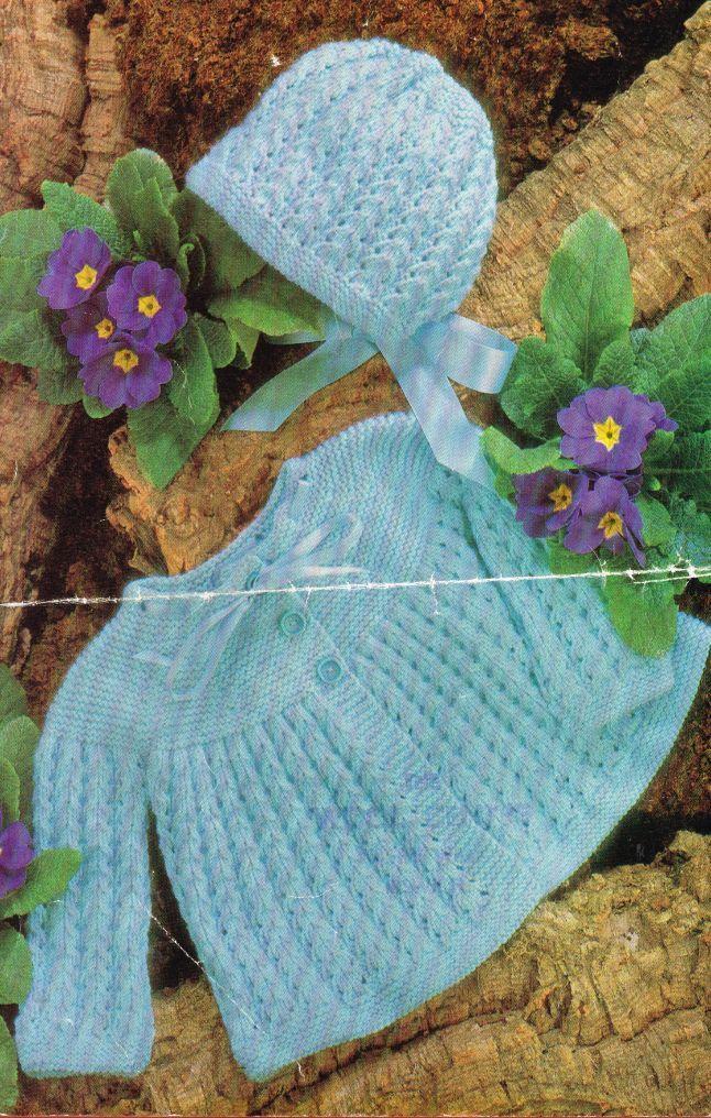 baby matinee coat set vintage knitting pattern PDF by