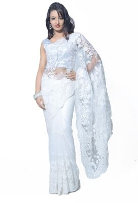Rcpc Self Design Bollywood Net Sari - Buy White Rcpc Self Design Bollywood Net Sari Online at Best Prices in India | Flipkart.com