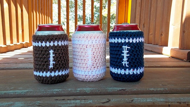 Ravelry: Football Can Cozy pattern: Crochet Ideas, Cozy Crochet, Crochet Projects, Football Coozycooziekoozi, Crochethappi Hooks, Crochet Misc, Patterns Pdf, Crochet Patterns, Cozy Patterns
