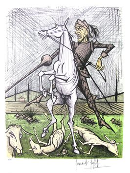 Buffet Bernard : Lithographie : Don Quichotte, cheval et pique II
