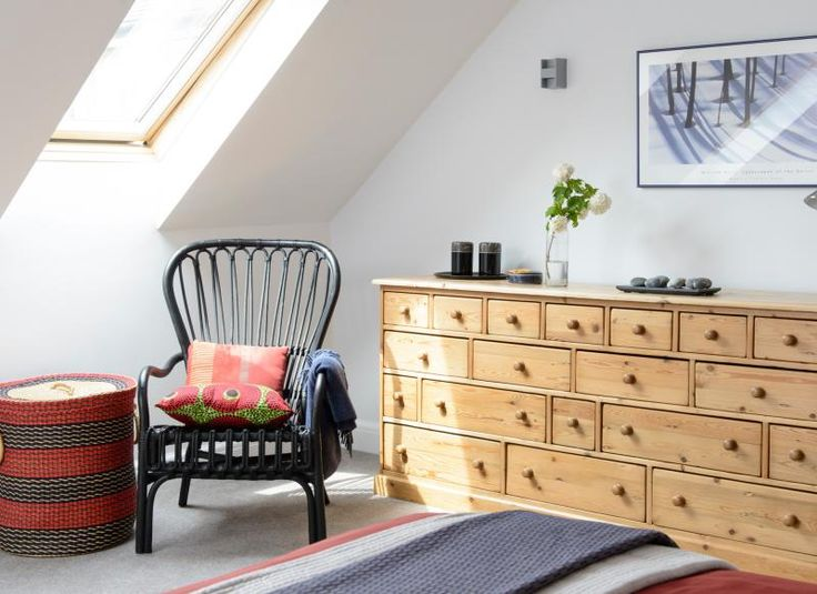Love the chair, the basket and love the dresser - you would only need one dresser... Neutral attic bedroom with skylight