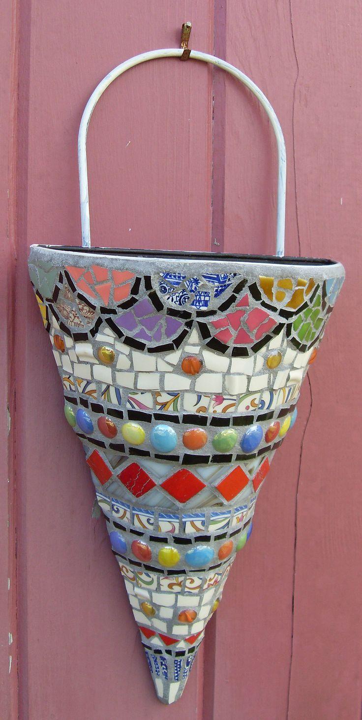 "Mosaic Wall Pocket - SOLD   Metal wall vase or planter. 17"" …   Flickr"