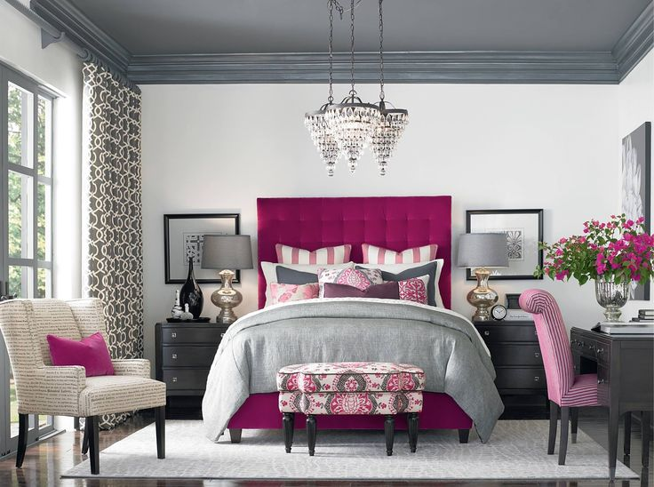 Raspberry accents love it from hgtv master bedroom for Living room ideas pink and grey