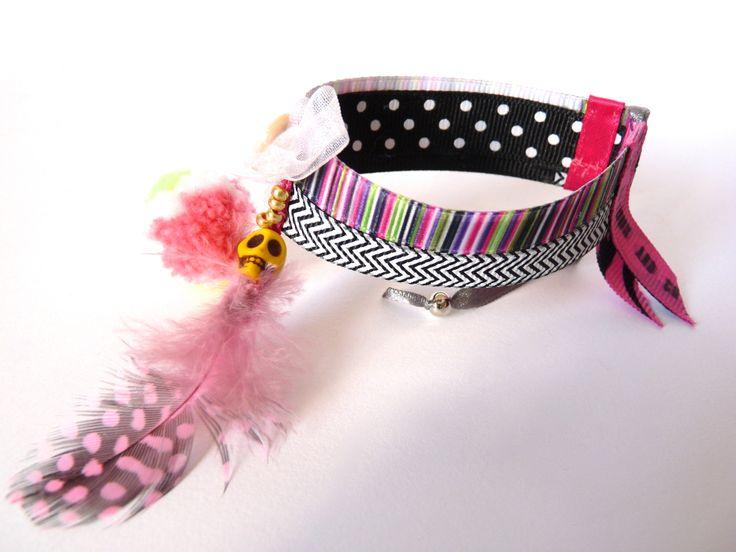 Bracelet ethnique chic, ruban chevron. : Bracelet par 1000bijouxandco