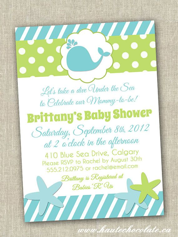 under the sea baby shower invitation by hautechocolatefavors 1000 - Under The Sea Party Invitations