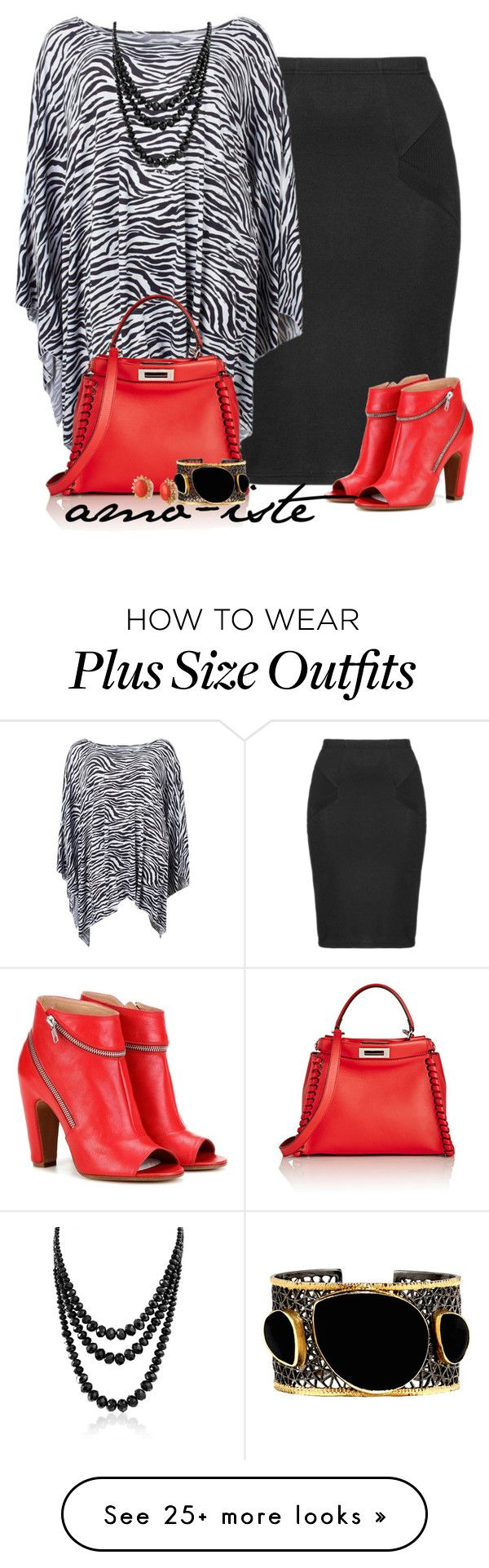 """Zebra Print - Plus Size"" by amo-iste on Polyvore featuring Zizzi, Fendi, Mela Artisans, Maison Margiela, Bling Jewelry and Lele Sadoughi"