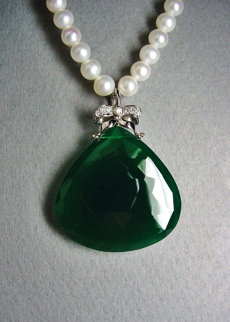 Halina Fuchs Jewelry (248) 703-9630  white Gold and Pearls with Diamonds and Green Onyx pendant/enhancer. www.halinafuchs.com