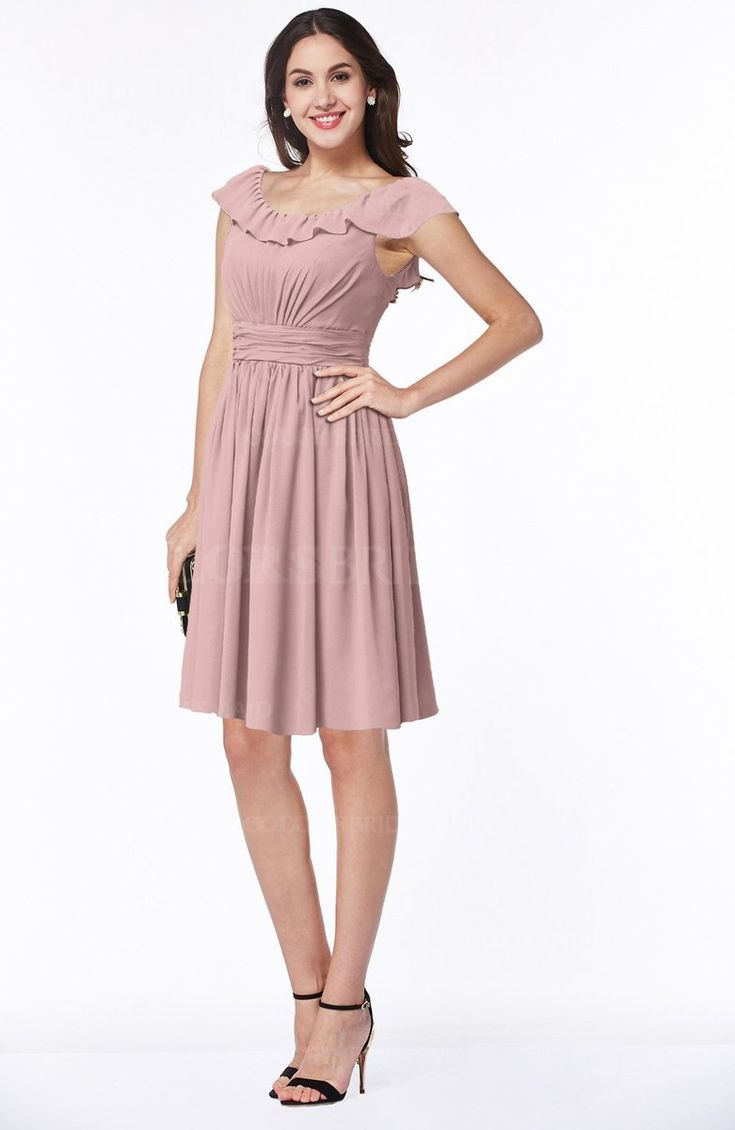 Silver Pink Traditional Scoop Short Sleeve Chiffon Mini Ruching Plus Size Bridesmaid Dresses (Style D53098)