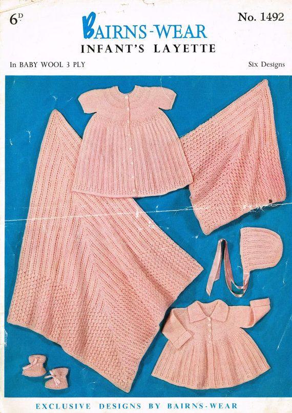 Bairnswear 1492 vauva äitiyspakkaus asettaa sis huivi vuosikerta neulekuviosta PDF