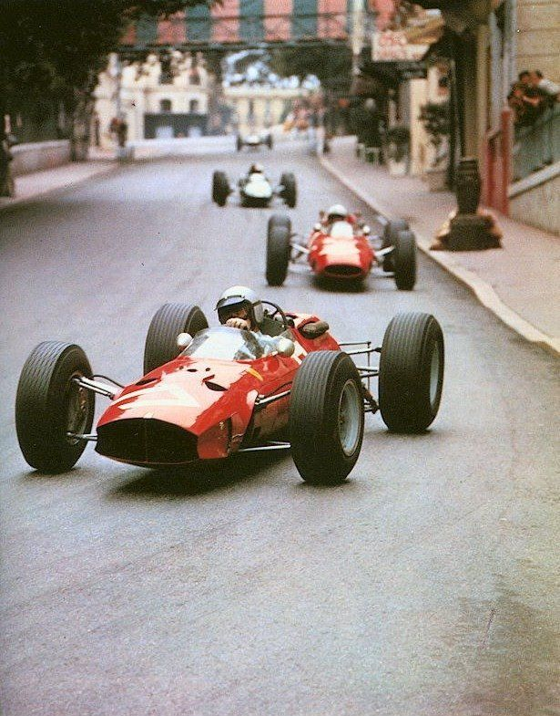 Lorenzo Bandini, Ferrari, #17, (finished 2nd) leading teammate John Surtees…