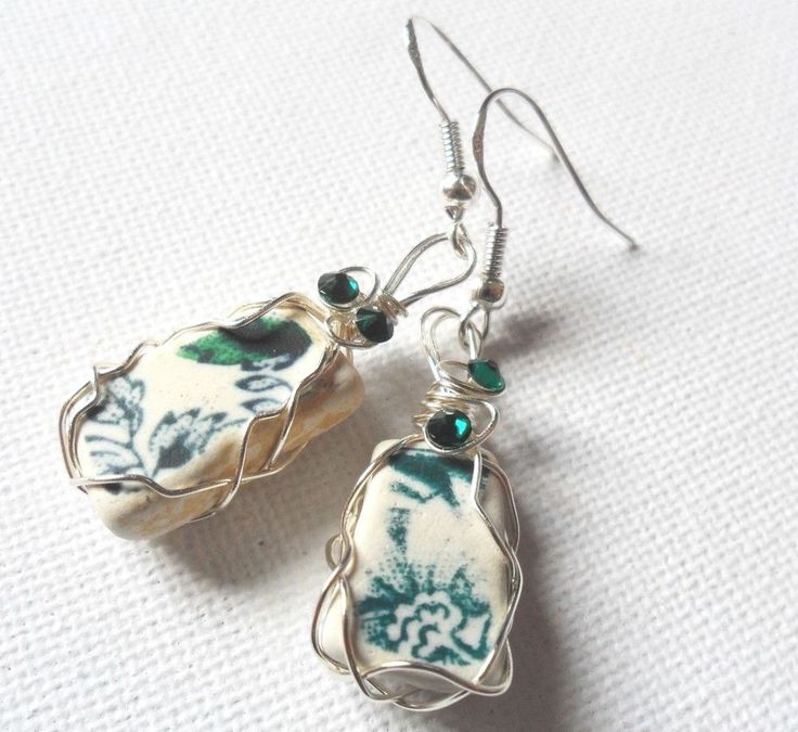 Rare Seaham sea pottery shard sterling silver earrings - Green navy blue floral  #Handmade #DropDangle