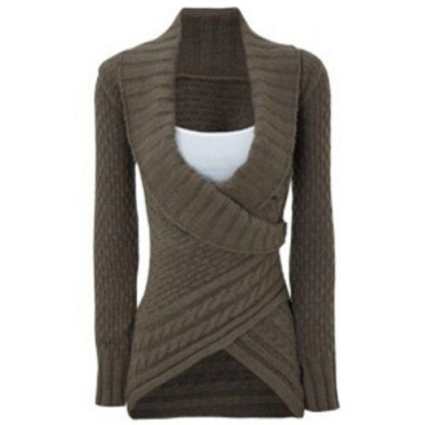 Chic Turn-Down Neck Long Sleeve Asymmetrical Women's Sweater