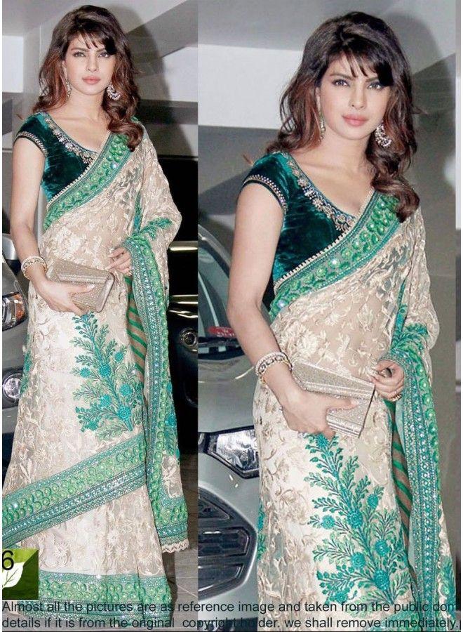 Priyanka Chopra Brasso Work White Bollywood Saree  www.angelnx.com