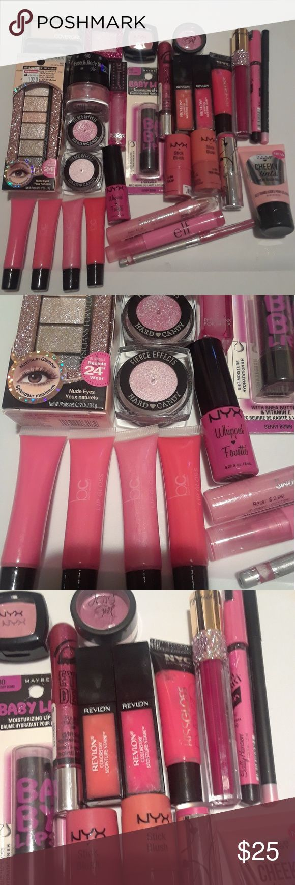 Mixed Pink makeup bundle This bundle is all makeup new majority, only the Revlon Colorstay Lipstains were opened to see the color.  The physicians formula eyeshadow is new in stores at CVS for $12, I just don't want to return it because of my extrabucks.  Idk how that works but the rest is new with lipsticks, lipglosses, eyeshadows, blushes, eyeliner, and 1 Sally Hansen nail polish pen.  There are 30 items in this bundle.  Brands from NYX,  Hard Candy,  Maybelline, Physician's Formula…
