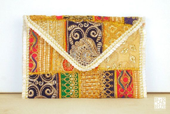 Traditional Zari Patchwork White Clutch Bag by FolkRoute on Etsy