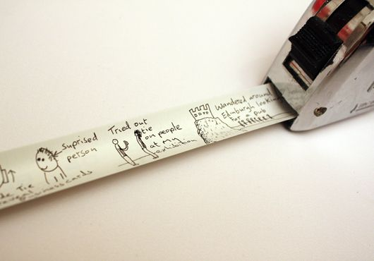 This would make a super creative guest book idea for a house warming party or other home or construction theme event. Guests sign the back of the tape measure!