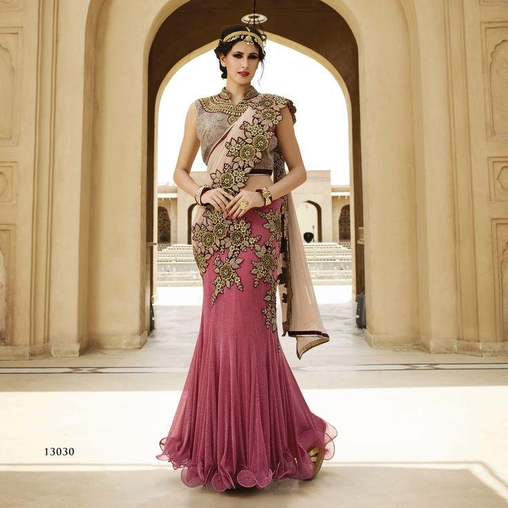 #WeddingSaree Light Maroon-Cream Color Simmer Net Fabric in Heavy Traditional Wedding Saree. Buy Now :- https://goo.gl/bZdtb3